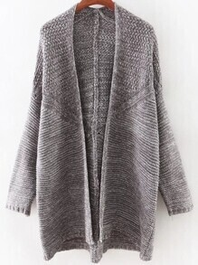 Grey Long Sleeve Collarless Slim Long Cardigan