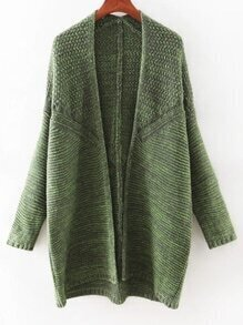 Green Long Sleeve Slim Collarless Long Cardigan
