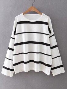 White Round Neck Stripe Sweater