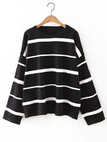 Black Round Neck Stripe Sweater