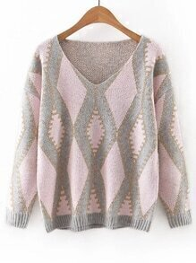 Pink V Neck Geometric Printed Sweater