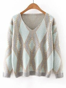 Green V Neck Geometric Printed Sweater