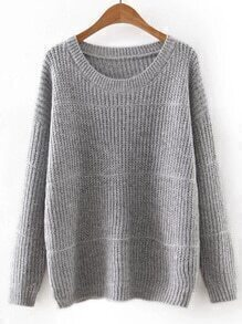 Dark Gery Round Neck Plain Knitwear