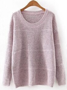 Pink Round Neck Plain Knitwear