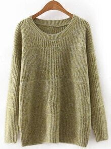 Green Round Neck Plain Knitwear