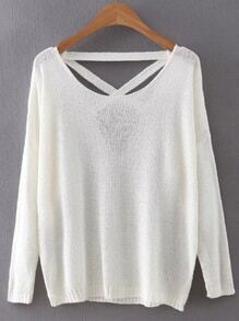 White Criss Cross Back Knitwear