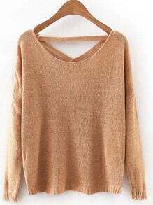 Brown Criss Cross Back Knitwear