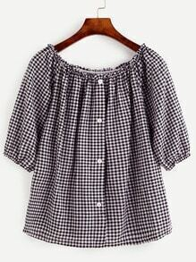 Black Checkerboard Button Front Blouse