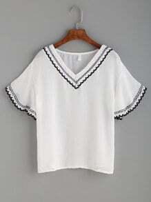 White Crochet Trim Drop Shoulder Top