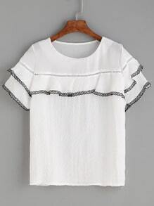 White Lace Trim Eyelet Panel Ruffle Top
