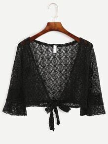 Black Tie Front Hollow Out Crochet Top