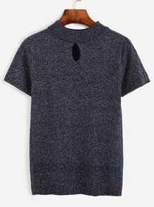 Navy Marled Knit Keyhole Knit T-shirt