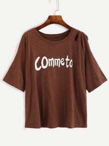 Brown Letter Print Split Sleeve Slub T-shirt