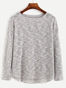 Grey Marled Knit High Low T-shirt