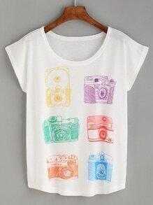 White Camera Print T-shirt