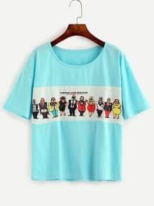 Blue Cartoon Print Patch Drop Shoulder T-shirt