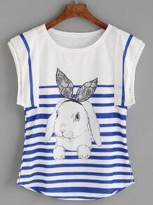 Blue Striped Rabbit Print Eyelet Cap Sleeve T-shirt