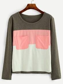 Color Block Dual Pocket Front T-shirt