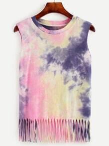 Multicolor Pastel Tie Dye Print Fringe Tank Top