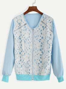 Blue Embroidered Lace Applique Bomber Jacket