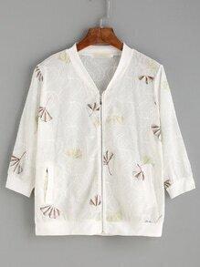 White Leaf Embroidered Bomber Jacket