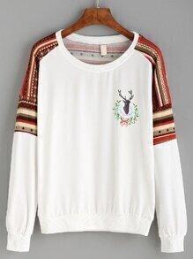 White Drop Shoulder Tribal Sleeve Pullover Sweatshirt