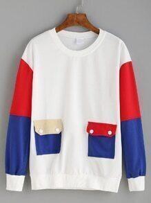 Color Block Drop Shoulder Dual Flap Pocket Sweatshirt
