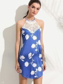 Blue Criss Cross Back Flower Print Crochet Insert Dress