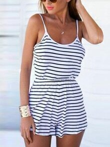 White Striped Spaghetti Strap Scoop Back Romper