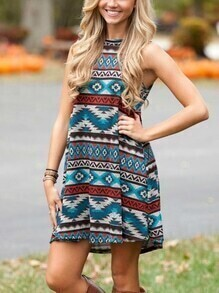 Multicolor Geometric Print Sleeveless Dress