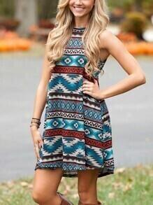 Multicolor Geometric Print Sleeveless Dress