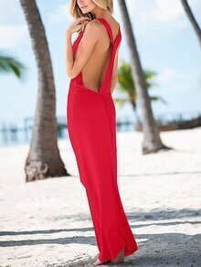 Red Y Back Maxi Dress