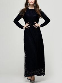 Black Lace Overlay Long Sleeve Dress