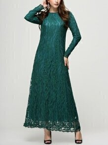 Green Lace Overlay Long Sleeve Dress
