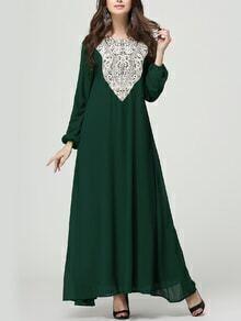 Green Crochet Applique Lantern Sleeve Long Dress