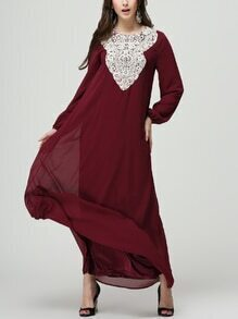 Burgundy Crochet Applique Lantern Sleeve Long Dress