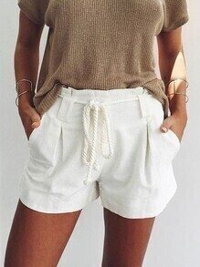 White Drawstring Pleated Shorts With Pockets
