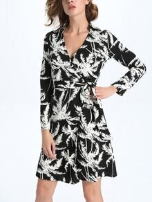 Black Printed Surplice Front Wrap Dress