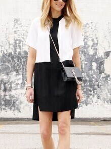 Black and White Contrast Panel Dip Hem Dress