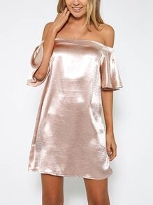 Metallic Pink Off The Shoulder Ruffle Sleeve Dress