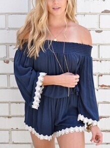 Navy Shirred Off The Shoulder Lace Trim Romper