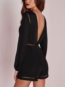 Black V Back Crochet Insert Romper