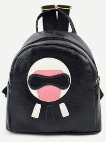 Black Cartoon Patch Pebbled Backpack