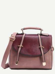 Pink Contrast Flap Dual Strap Front Satchel Bag
