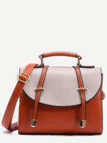 Camel Contrast Flap Dual Strap Front Satchel Bag