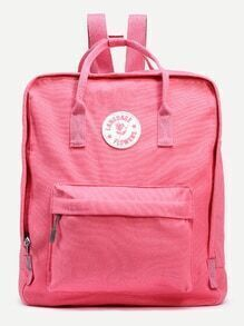 Pink Double Handle Square Canvas Backpack
