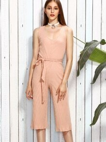 Pink Scoop Neck Self Tie Sleeveless Jumpsuit