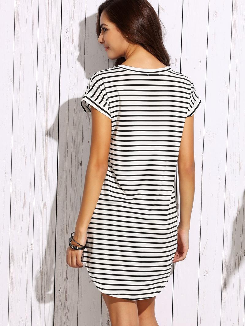 6ec690071b08 Vestido camiseta rayas hombro drapeado - negro blanco