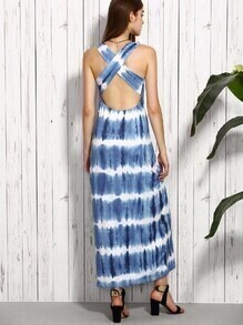 Blue Tie-dye Criss Cross Back Cutout Dress