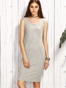 Grey Knit Sheath Tank Dress